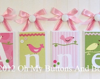 Name Blocks . Nursery Name Blocks . Nursery Decor . Baby Name Blocks . Hanging Wood Name Blocks . Pink Green . Birds . Anne