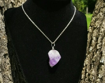 Hand wrapped amethyst necklace