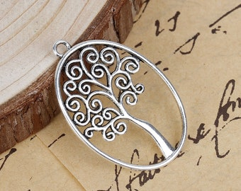 Oval 40mm x 27mm antique silver palm tree pendant