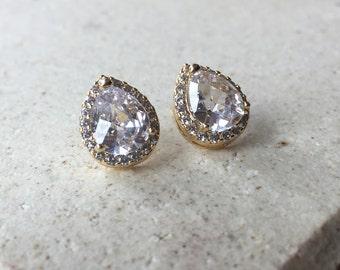 925 STERLING  Crystal Wedding Earrings,  Teardrop Stud Earrings, Bridal Earrings, Bridesmaid Gift, Wedding Jewelry