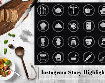 Instagram Story Highlight Icons Template, Kitchen Utensils Icons, Silver Instagram Kitchen Icon, Instagram Stories, Cooking Icons, BUY3FOR6