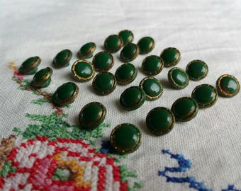 Vintage green glass buttons huge set of 25 gilt edges petite tiny good condition