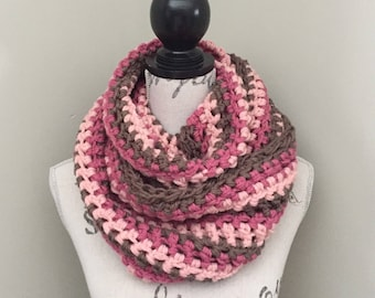 Crochet infinity scarf, crochet scarf in taupe & pink