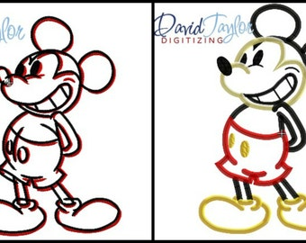 Mickey Grin Sketch Embroidery & Applique 2 Designs  4x4 5x7 6x10 7x10 in 9 formats - Applique - Instant Download - David Taylor Digitizing