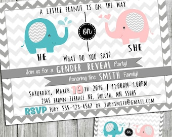 Gender Reveal invitation,baby elephants, he or she, little peanut, chevron Invitation,modern,printable, DIY