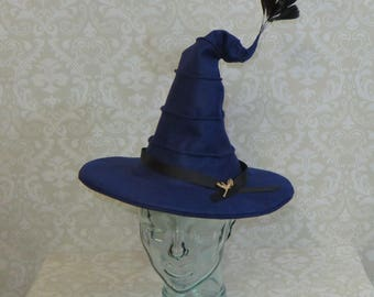 Madam Hooch Witch Hat- Midnight Blue Felt Hat with Rooster Feathers