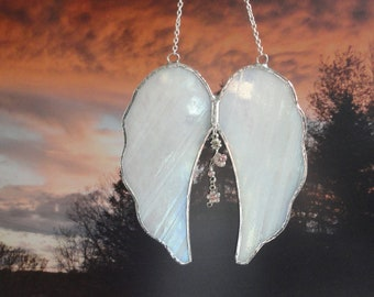 Angel Wings, Stained Glass, White Iridescent, Spiritual, Religious, Sun Catcher, Home Decor, Window Hanging, Faith, Sculpture, Ornament