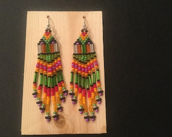 Seed bead earrings with sterling silver hooks