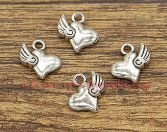 25pcs Winged Heart Charms 2 Sided Charms Antique Silver Tone 14x14mm cf2219