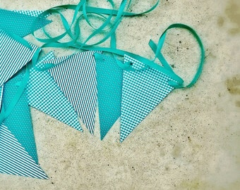 18 teal paper flags,Paper garland party banner,Birthday wedding bunting flags,Teal bunting flags party decoration,Nursery decor