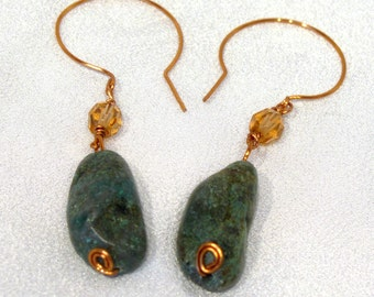Turquoise and Peach Crystal Hand Forged Copper Wire Earrings - E82
