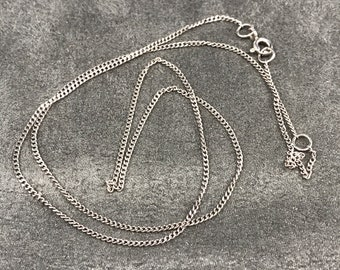 "16""+2"", 1mm, vintage Sterling silver necklace, solid 925 silver curb link chain, stamped 925"