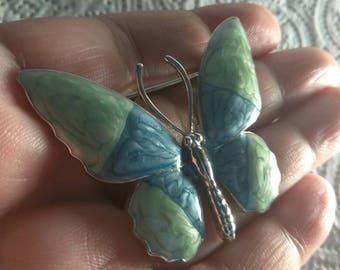 Vintage Butterfly Brooch Silver Tone Enamel Blue Green