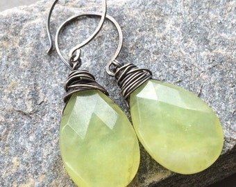 Lime Green Lemon Quartz Briolette Earring - Large Wire Wrapped Teardrop Gemstones - August Birthstone