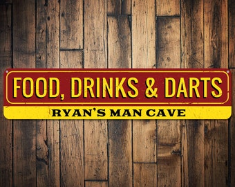 Food Drinks & Darts Sign, Personalized Name Man Cave Sign, Metal Man Cave Decor, Custom Game Room Sign - Quality Aluminum ENS1001409