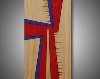 "Abstract Art - Modern Art - Original Design Colored with Prismacolor Pencils - Contemporary Home Decor ""Takeoff"" 7.25"" x 13.25"""