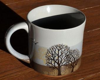 Brown, Blue, Yellow and Grey Winter Scene with Birds Design Coffee Mug - Tea Cup