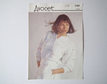 Original Avocet 1197 Vintage Knitting Pattern, Avocet Stripes, Lady's Sweater, Handknit Pattern, Size 32-42 inch, 81-107 cm, Long Sleeves