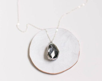 Charcoal Glass Pendant Layering Necklace - Simple Layering Necklace - Silver Layering Necklace - Small Delicate Gold Layering Necklace