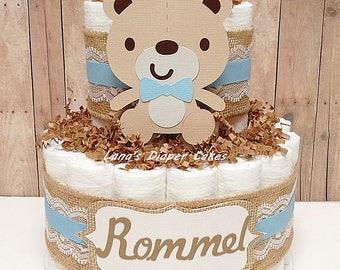 2 Tier Baby Bear Diaper Cake, Boys Woodland Baby Shower, Burlap, Bear Centerpiece, Brown, Blue