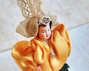 French Celluloid Sables D'olonne costume doll, folk doll, vintage, France, vintagefr, Petitcollin, vendée