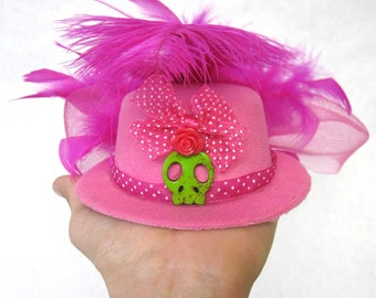 Hot Pink Fascinator Hat Day of the Dead Mini Top Hat Skull Hair Accessory