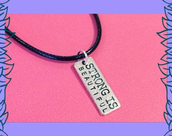 SALE fitness jewelry, strong is beautiful necklace, fitness jewellery, gym fitness gift