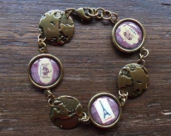 Vintage Style Antique Brass World Travel Disc Charm Bracelet