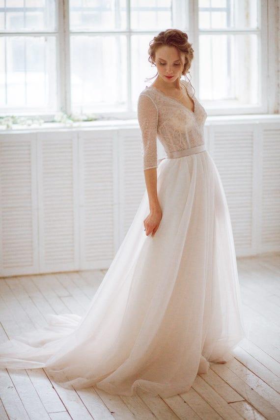 Stella / Vintage Natur Französisch Spitze Hochzeitskleid mit