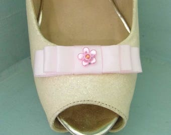 Handmade Small Baby Pink Bow Shoe Clips with Little Flower Centre