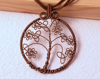 Celtic tree of life pendant, flower tree of life pendant, copper tree of life pendant, unique wire wrapped tree of life pendant