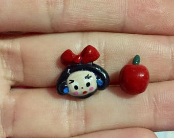 Snow White Mix Matched Polymer Earrings