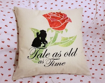 "beauty and the beast silouette enchanted rose  quote  "" tale as old as time ""  inspired cushion cover 45 by 45 cm  gift"