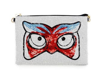 Owl Sequin Clutch Bag, White
