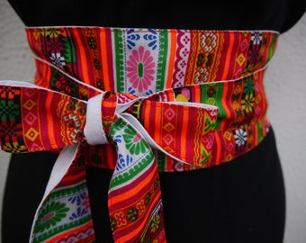 Made with a hmong style fabric Obi belt reversible white-2 belts in 1