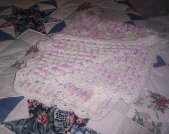 Multi-Colored and white Baby Afghan