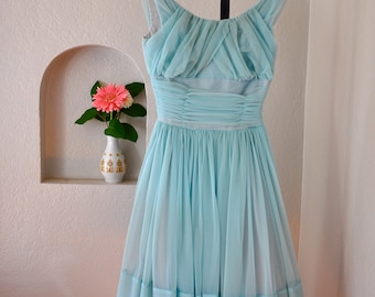 Beautiful 1950's powder blue tulle party dress
