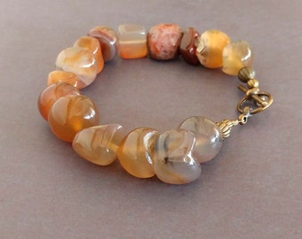 Natural Shaped Red Agate Gemstones in Pale Yellows, Orange, Brown & Gray with Gold Plated Brass Beads and Toggle Clasp