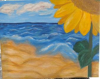 acrylic Sunflower on the Beach