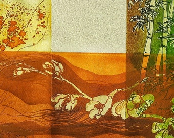 three plants, Original, Monotype, One of a kind.home decoration