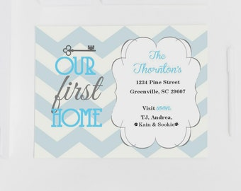 Our First Home Postcard with Chevron and Key!