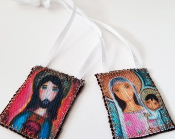 Mary with Rosary Scapular -   Handmade - Original Art by FLOR LARIOS