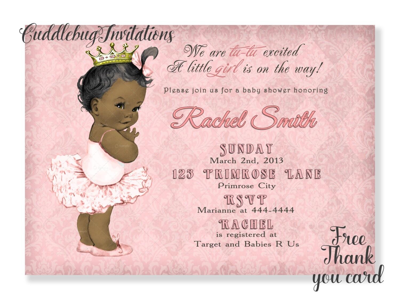 African American Ballerina Girl Baby Shower Invitation Pink