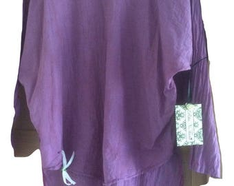 Violet Layering long shirt top all sizes plus size regular petite lagenlook layerlook cotton gauze long sleeves bohochic prairie RitaNoTIara