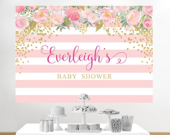 Baby Shower Backdrop, Baby Shower Back Drop, Baby Shower Background, Pink  And Gold