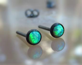 4mm opal STUD earrings - Dainty Opal Earring -sterling silver stud earrings