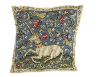 Vintage French Tapestry Pillow with Unicorn and Roses. Small Pin Cushion with Medieval Art. Craft Room Decor. Gifts for Her.