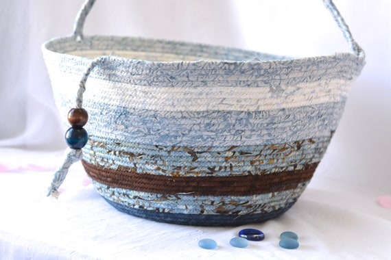 Blue Storage Container, Handmade Handled Batik Basket, Coiled Rope Basket with handle, Modern Chic Fabric Bin