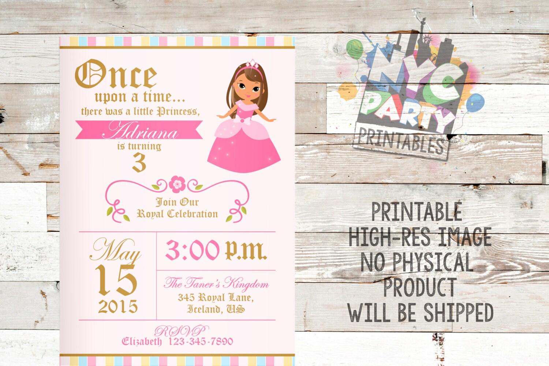 Princess Birthday Party Invitation, Brunette, Tan Birthday Princess ...