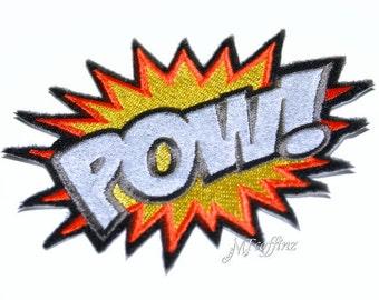 Neon POW Comic Book woorden ijzer op borduurwerk Patch MTCoffinz